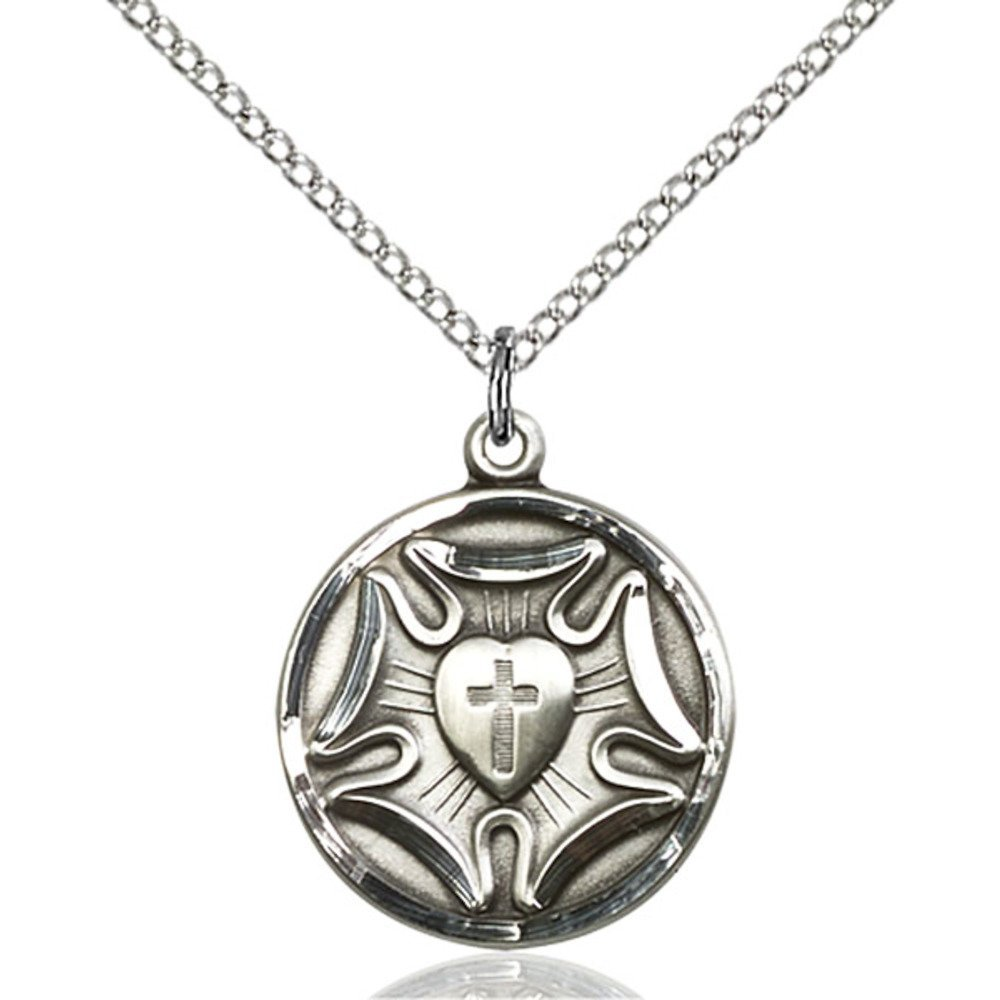 Sterling Silver Women's LUTHERAN Pendant - Includes 18 Inch Light Curb Chain - Deluxe Gift Box Included