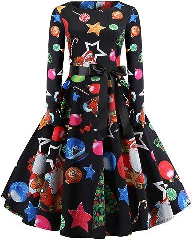 URSING Dress-Womens Casual Christmas O-Neck Printed Long Sleeve A-Line Dress