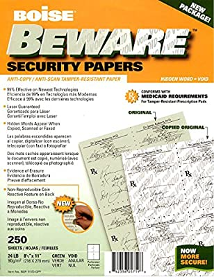 Boise BEWARE Security Papers 250 Sheets Anti-Copy / Anti-Scan Tamper-Resistant Paper
