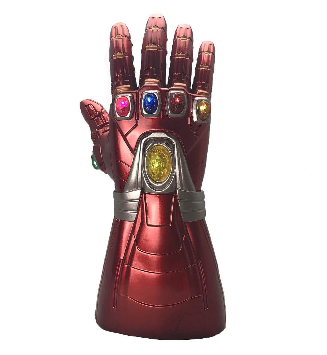 Haho Iron Man Gauntlet Avengers Endgame Iron Man Infinity Stone Gauntlet Glove Light Up (Adult) Red