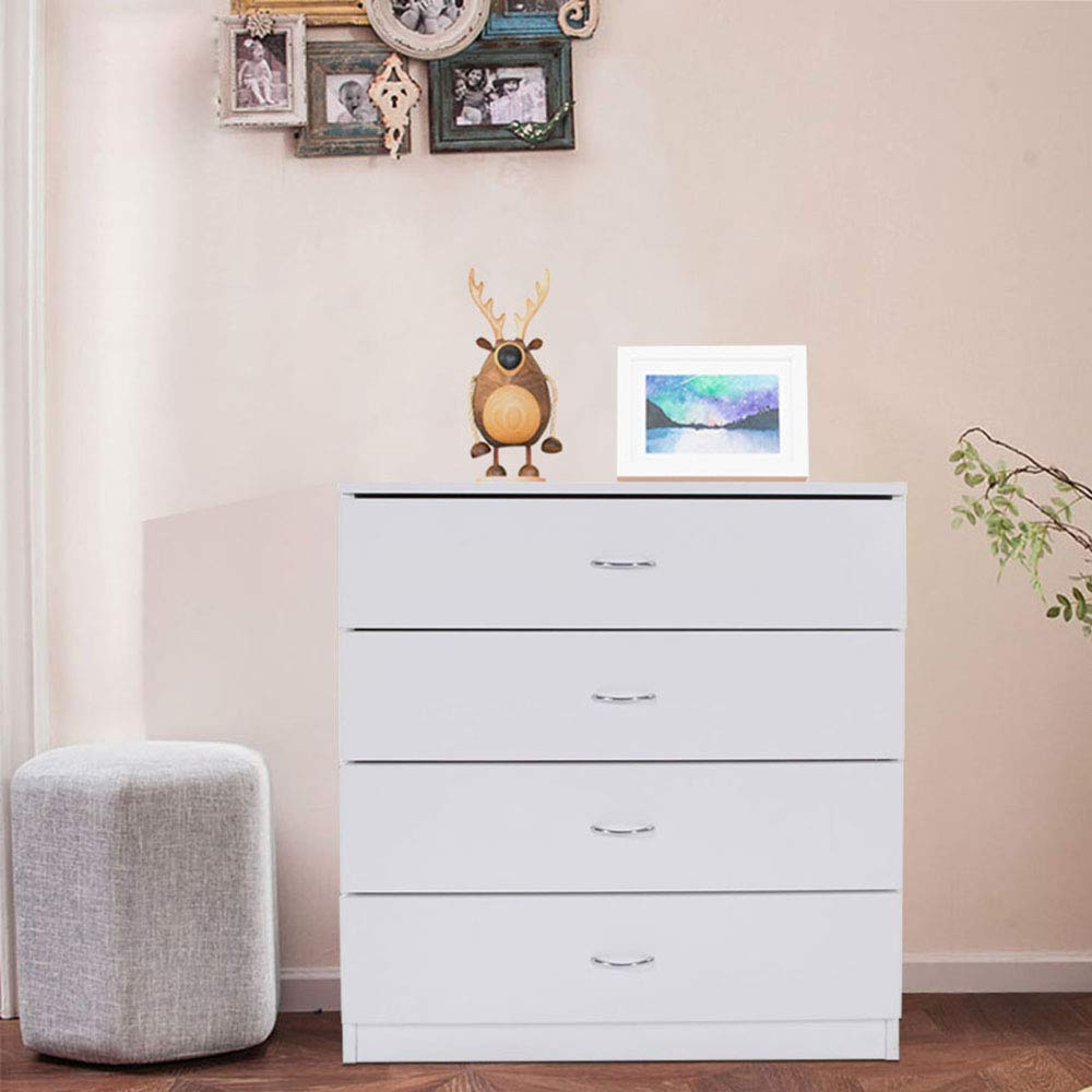 SSLine 4-Drawer Dresser White Wood Cabinet for Closet/Office Clothes Cosmetic Storage Chest Organizer with Drawers Bedroom Night Stand