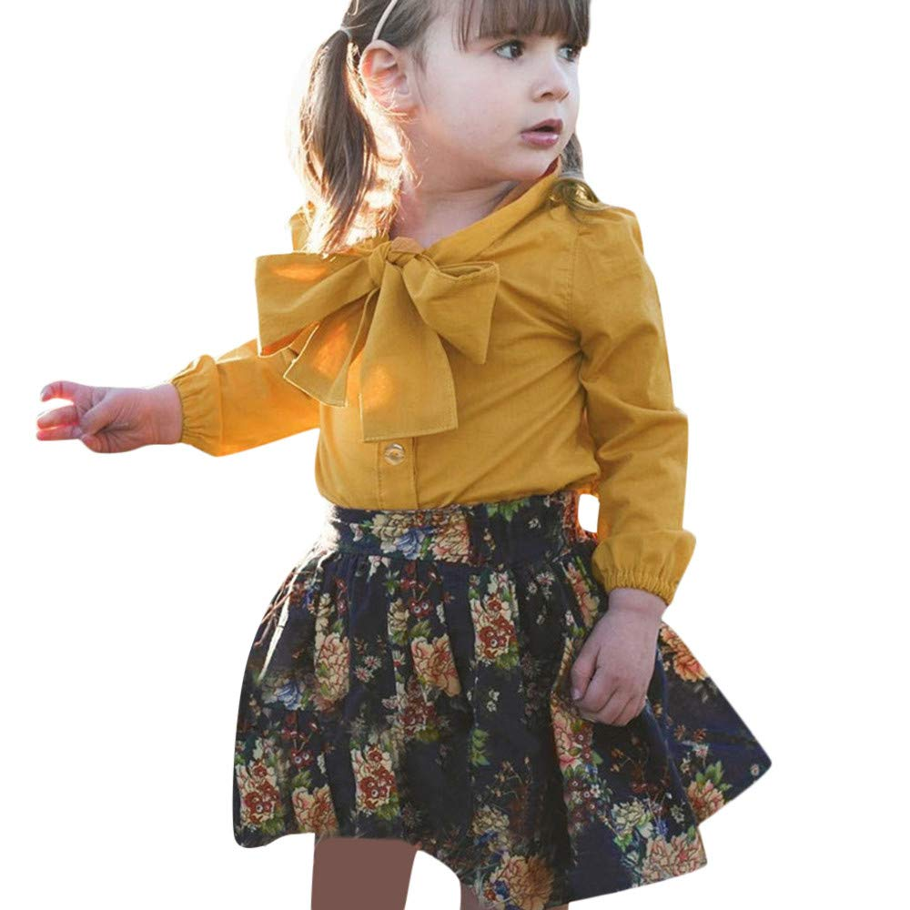 ASTV Toddler Baby Girls Long Sleeve Bow Tie Tops+Print Skirt Two-Piece Dress Set
