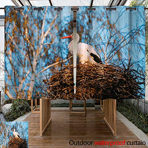 Set Bare Sheer (WinfreyDecor Outdoor Curtains for Patio Sheer Adult European White Stork Standing in Nest Near Bare Spring Birch On Blue Sky Background W55 x L72)