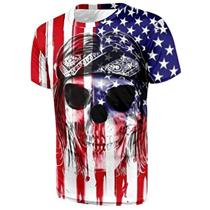 3f3d711d70d0 Amazon.com: Men Youth Boys Short Sleeve T Shirt,Toponly Patriotic O Neck  Skull Shaper American Flag Print Tees Muscle Sports Tops Pullover: Musical  ...