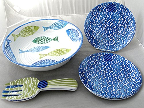 Cynthia Rowley 'Tropical Fish' 7-PC Melamine Serving Salad Bowl, Salad Plates & Salad Server Indoor / Outdoor Dining Set