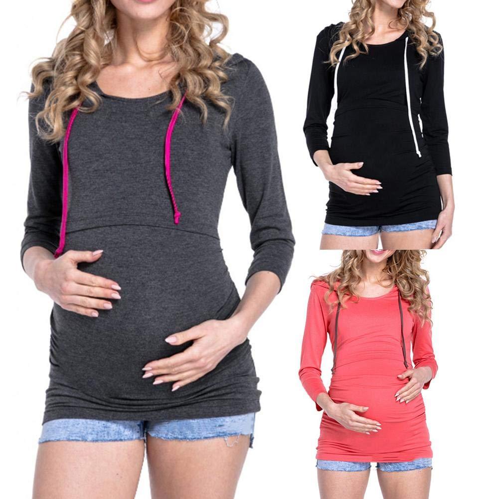 iShine Kapuzenpullover f/ür Schwangere Frau Hoodies Zweilagiges Pullover Mama Umstandspullover Stillpullover mit Kapuzen Langarmshirts Sweatshirt