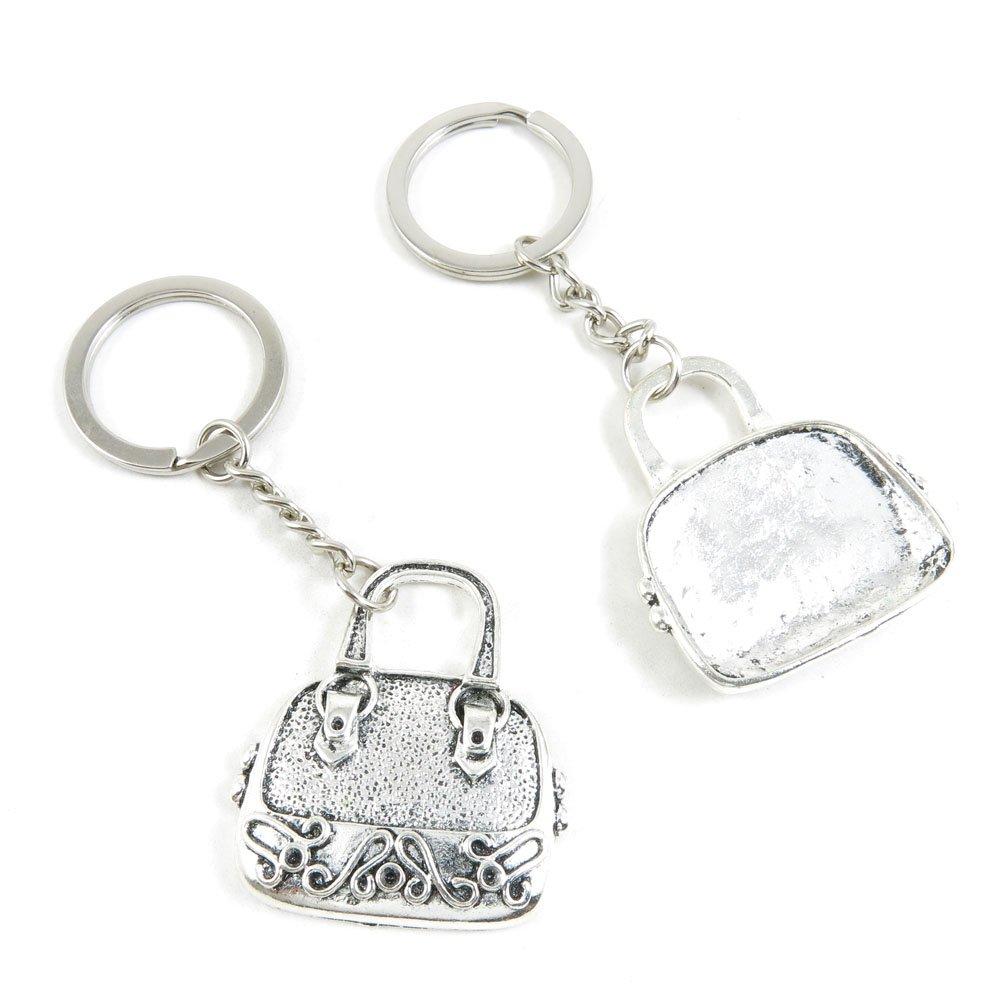 100 PCS Arts Crafts Fashion Jewelry Making Findings Key Ring Chains Tags Clasps Keyring Keychain C6BL9H Handbag Purse Shoulder Bag