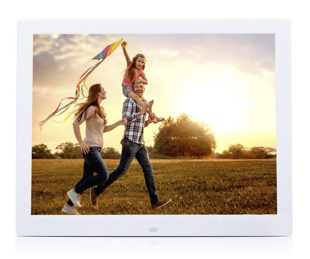 Digital Photo Frame of 10.1'', High Resolution Screen, with Video Player, Audio Player, Rotates Images, Power Timer, Automatic Shutdown, with Motion Sensor, Remote Control and Calendar. Color White