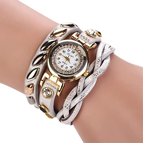 Amazon.com: Mujer NEW Fashion Femmes Mode Casual Bracelet En Cuir -Bracelet Femmes Robe Women Watches White: Beauty