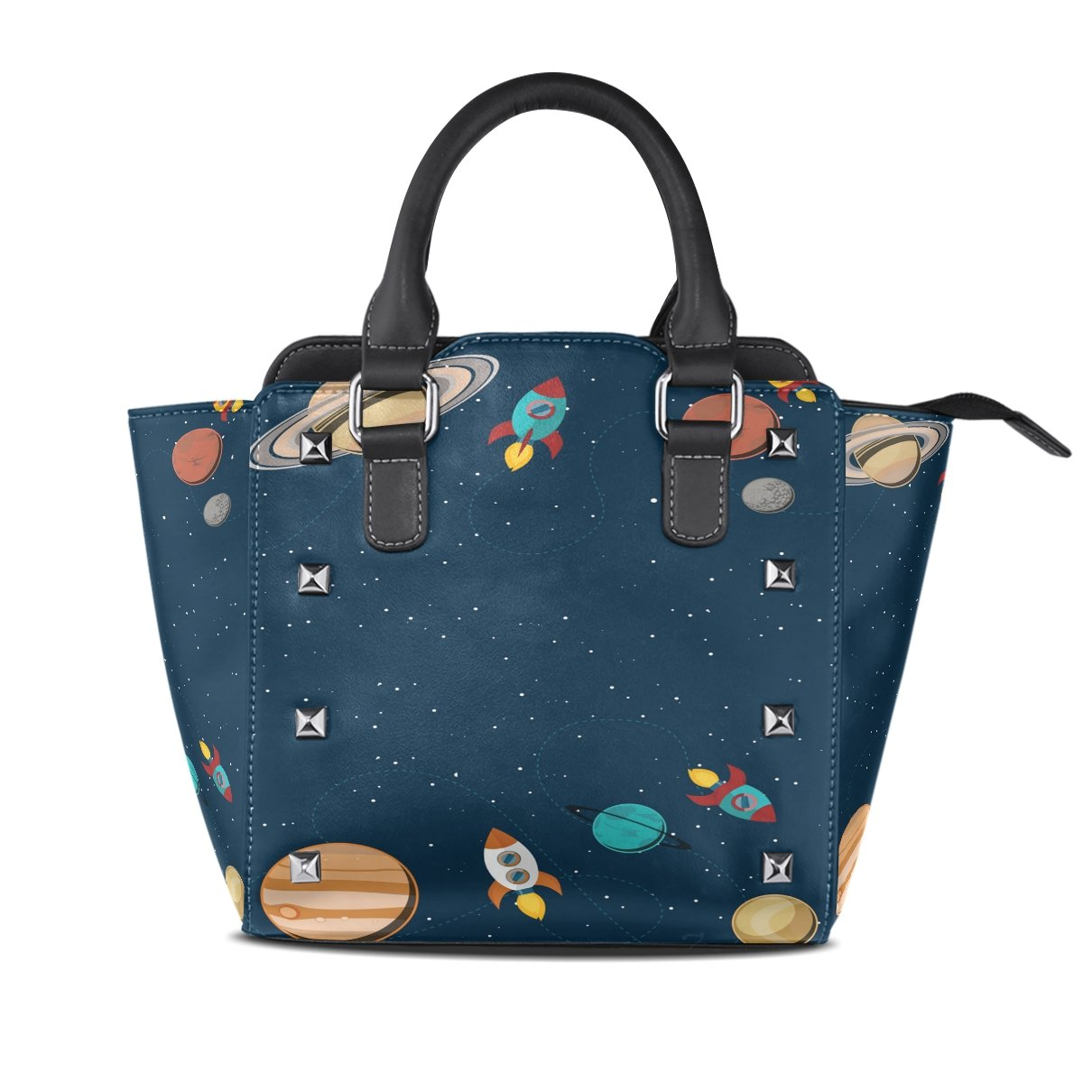 Womens Genuine Leather Hangbags Tote Bags Outer Space Purse Shoulder Bags