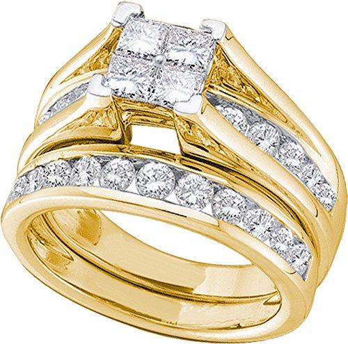 Sonia Jewels 10k Yellow Gold Princess Cut Diamond Bridal Wedding Engagement Ring Band Set (1/2 Cttw)