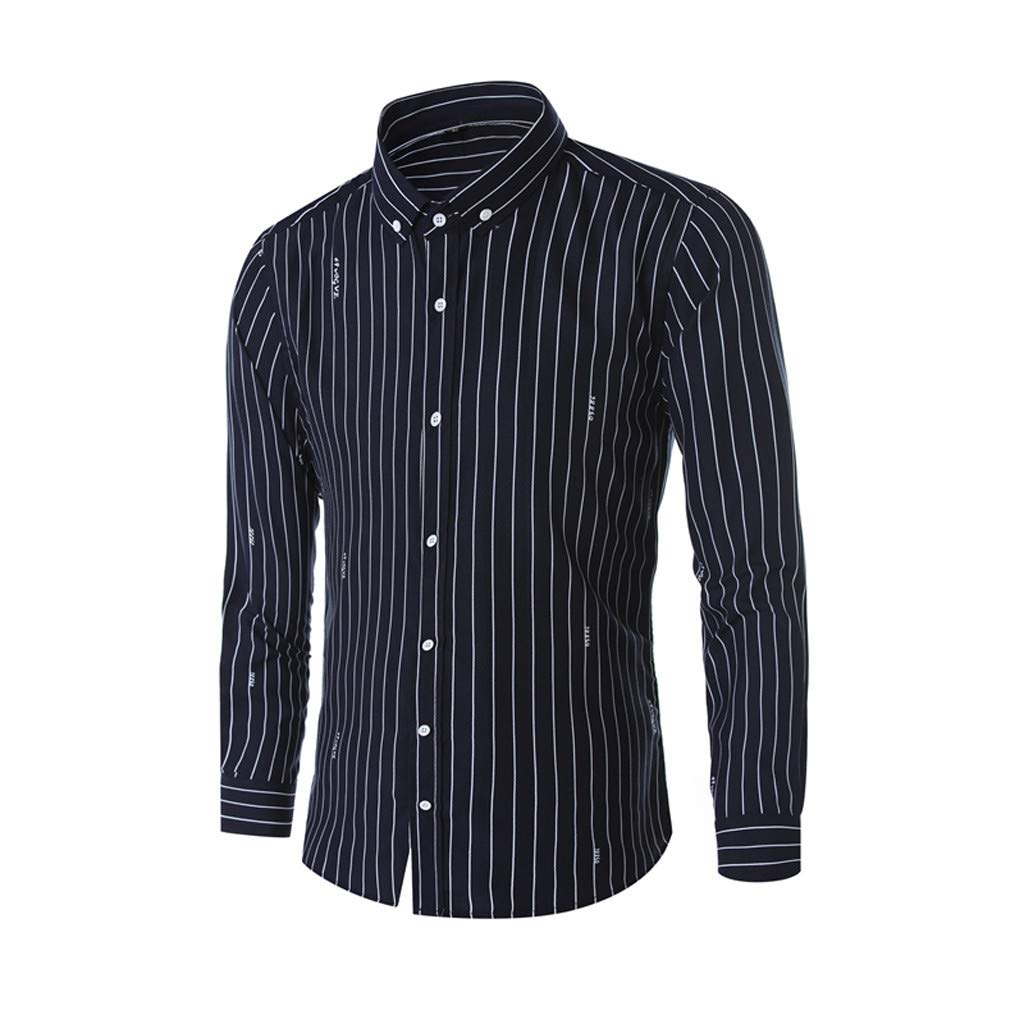 bef6bbf3 Amazon.com: NUWFOR Men's Business Leisure Long-Sleeved Vertical Stripe  Printing Shirt(Navy,US: XL Chest:46.5''): Beauty