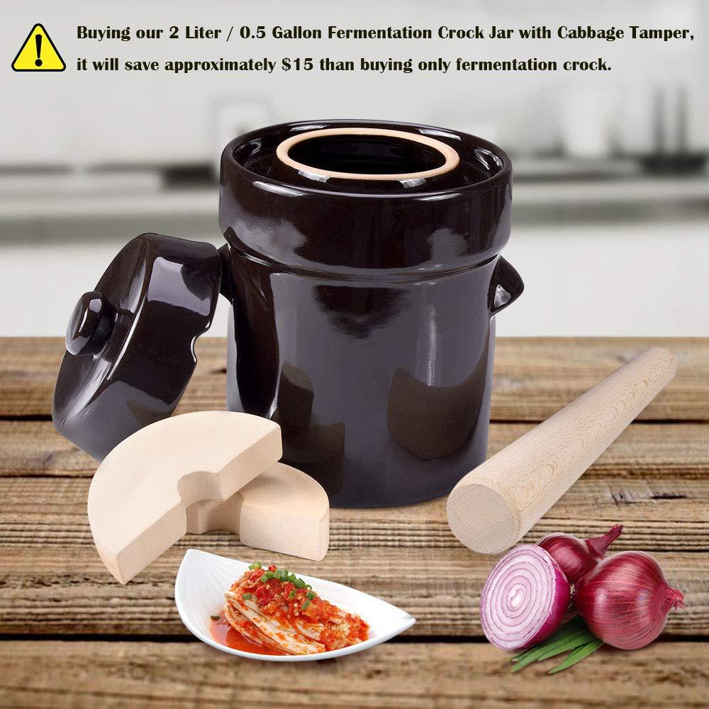 Fermentation Crock Jar 2 Liter / 0.5 Gallon - Stoneware Pot for Fermenting, Pickling Kimchi, Sauerkraut, Pickles, Vegetables, Kombucha - Glazed Fermenter with Stone Weights, Lid & Pickle Tamper by Seeutek (Image #2)