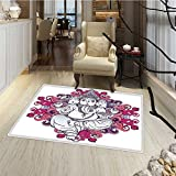 Elephant Door Mat outside Elephant Figure over Floral Colorful Mandala Pattern Eastern Faith Symbol Print Bath Mat Bathroom Mat with Non Slip 30''x48'' Pink Grey
