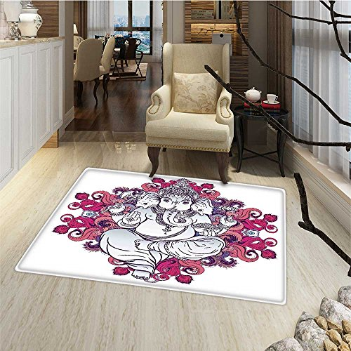 Elephant Door Mat outside Elephant Figure over Floral Colorful Mandala Pattern Eastern Faith Symbol Print Bath Mat Bathroom Mat with Non Slip 30''x48'' Pink Grey by Anmaseven