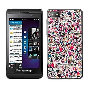 TopCaseStore / la caja del caucho duro de la cubierta de protección de la piel - Abstract Art Pink Lines Mosaique - Blackberry Z10