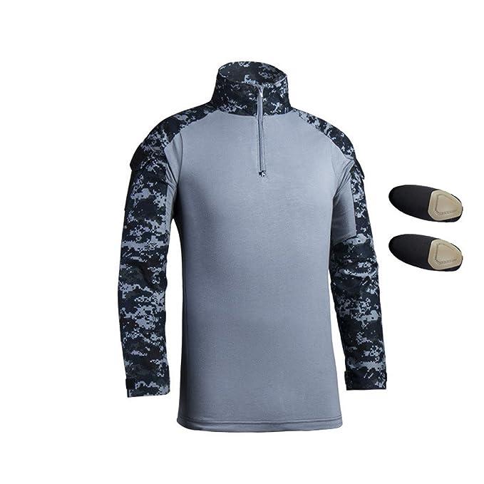 QCHENG Hombres Airsoft Militar Táctico Camisa Largo Manga Delgado Ajuste Camuflaje Combate Camo Camisetas con Almohadillas de Codo Azul Marino Large: ...