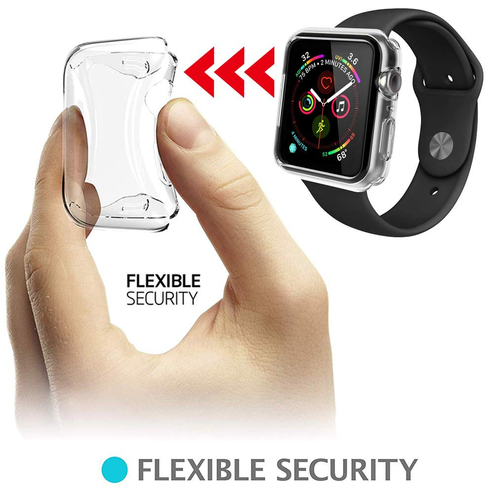 Sandistore Compatible with Apple Watch Case 40mm/44mm Series 4, Soft TPU Screen Protector All-Around Protective 0.3mm HD Clear Ultra-Thin Cover Case for iWatch Series4 40mm/44mm (40mm) by Sandistore Sport (Image #4)