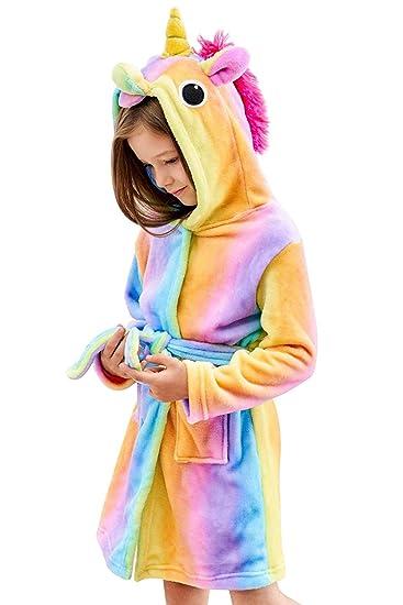 Amazon.com   TraderPlus Soft Fleece Rainbow Unicorn Hooded Bathrobe  Sleepwear for 0-5 Years Girls   Baby 591fa0d77