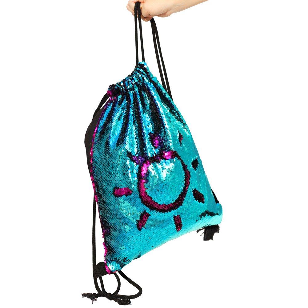 MHJY Mermaid Bag Sequin Drawstring Backpack Dancing Bag Fashion Dance Bag Sequin Backpack Flip Sequin Bling Bag for Beach Hiking Bags by MHJY (Image #5)