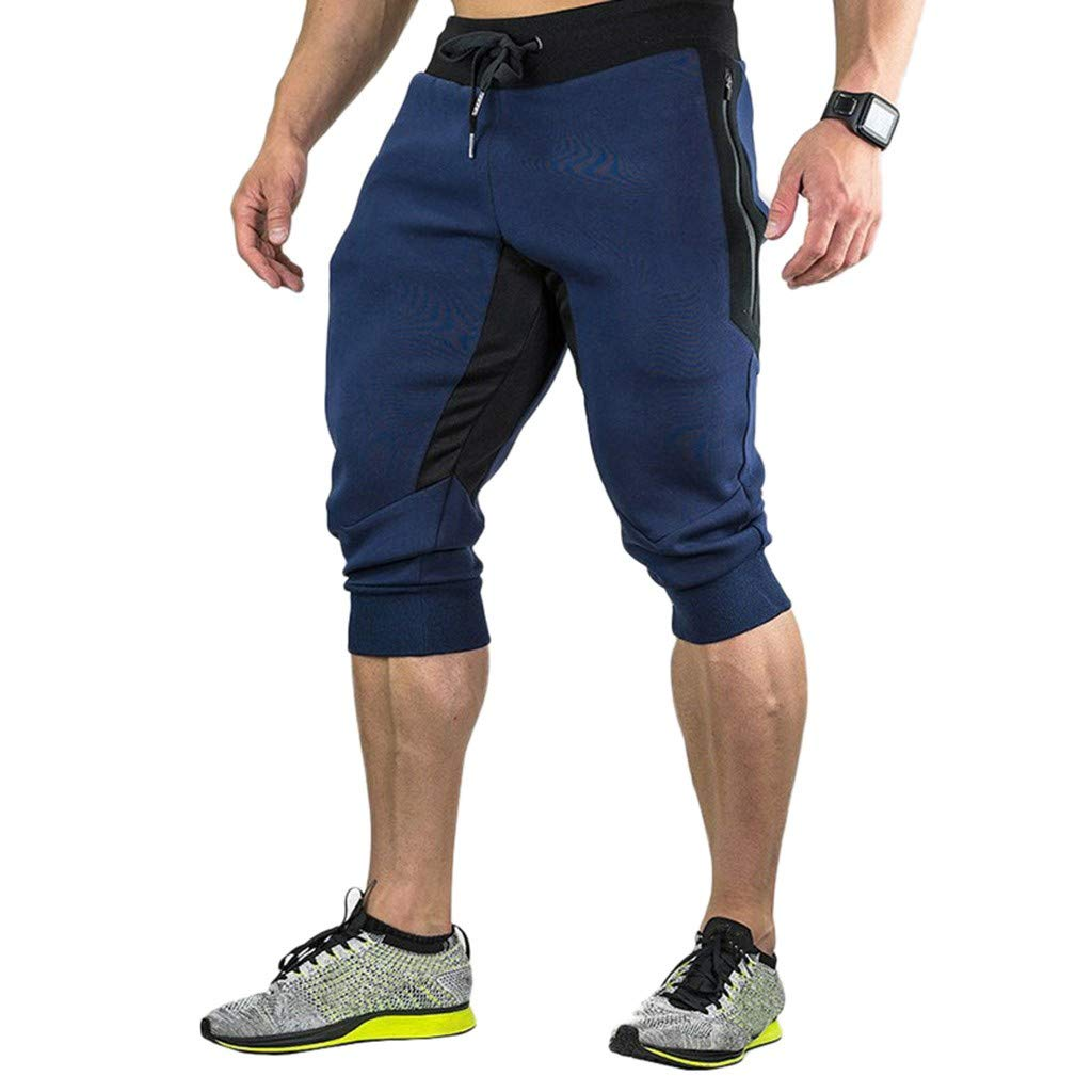 yoyorule Casual Pants Mens Casual Summer Joggers Solid Pocket Drawstring Zipper 3//4 Pants Trouser