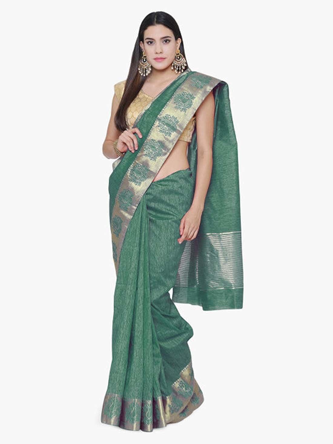 Green Indian Handicrfats Export Woven Banarasi Silk Saree