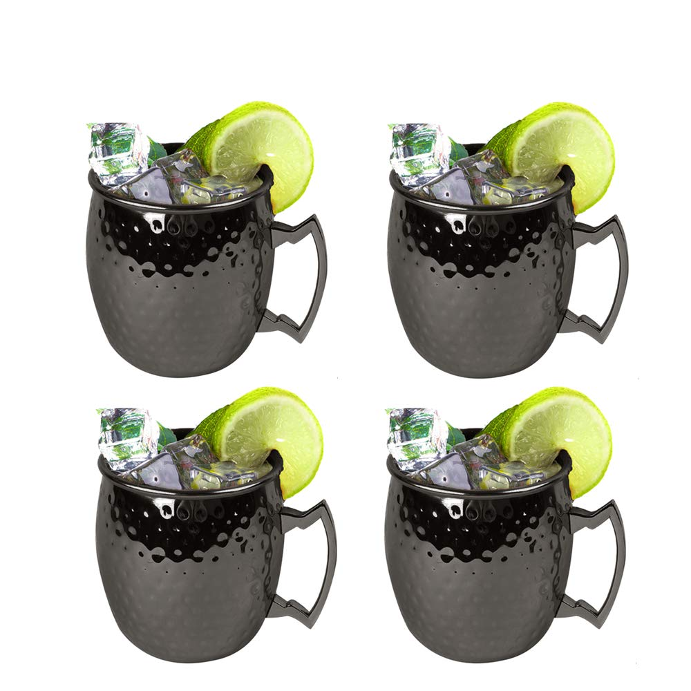 Moscow Mule Mugs Set of 4 - Food Safe Pure Solid Hammered Mugs 18 oz With Brass Handle and Stainless, Unlined Cups For Moscow Mule Cocktails and other Chilled Drinks, MUGS0003 (Black)