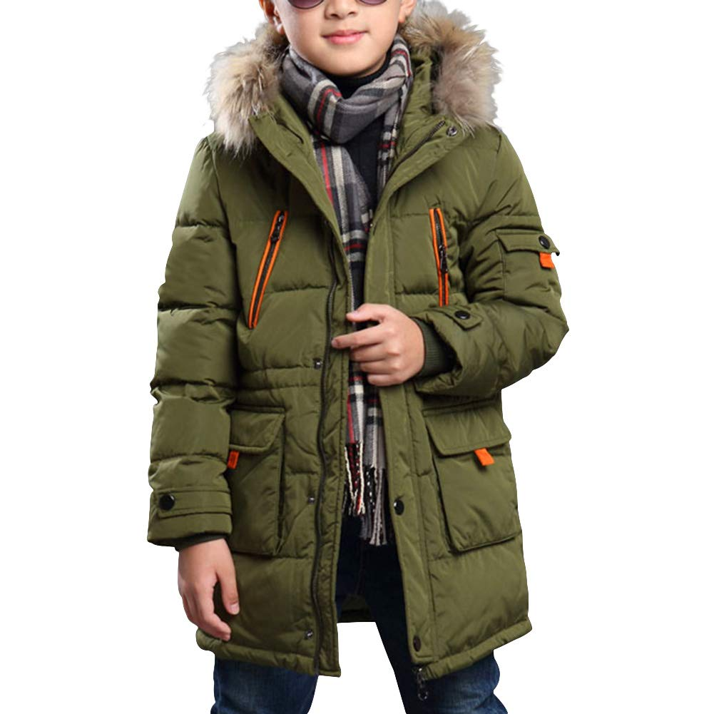 6205a49ce LQZ Kids Boys Warm Winter Padded Jacket Coat with Faux Fur Hood ...