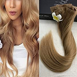 Full Shine 14 Inch 120 Gram Color #1B Off Black 8 Pcs Straight Seamless Clip in Real Human Hair Full Head Clip in Tape Remy Human Hair Extensions Skin Weft Clip in Hair Extensions