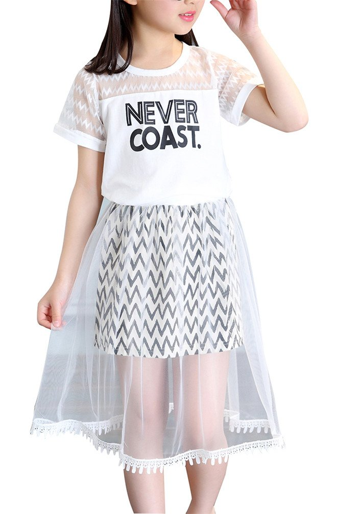 Girl Clothing Sets 2Pcs Letter Lace Tee + Stripe Skirt Knee Dress Pleated White Lace Layered Ruffle Party Dress O Neck Short Sleeve Summer Suits Sets Size 8 (White, 140)