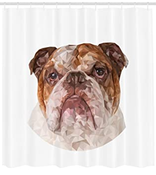 Ambesonne English Bulldog Shower Curtain Polygonal Design With Geometric Triangles Abstract Animal Drawing