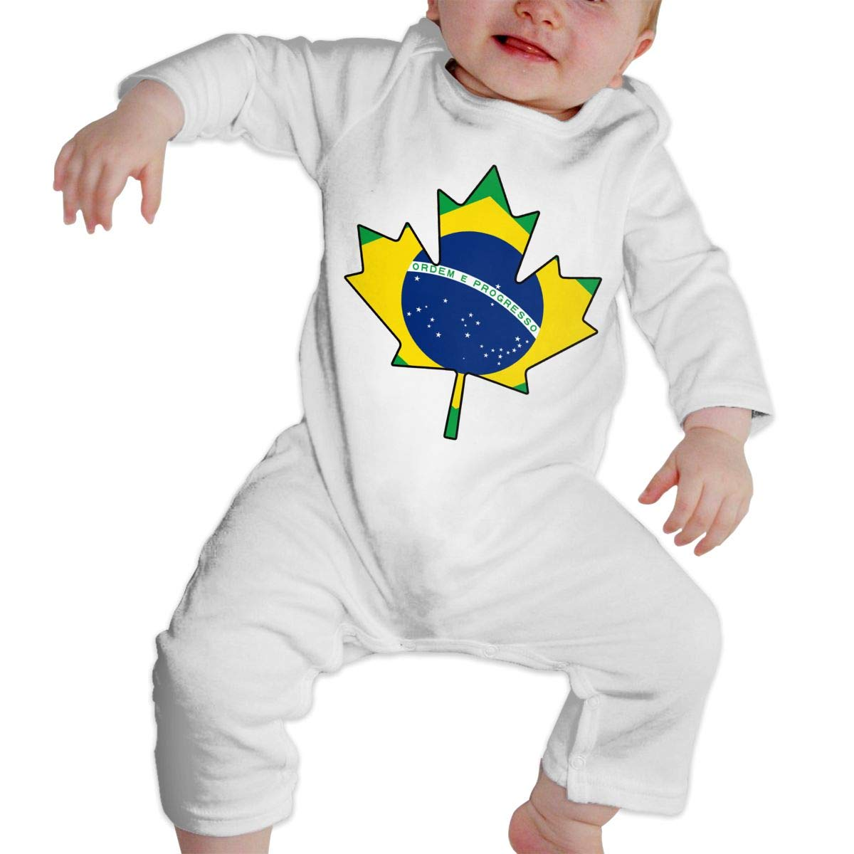 Infant Baby Girls Cotton Long Sleeve Canadian Brazil Flag Maple Leaf Romper Bodysuit One-Piece Romper Clothes