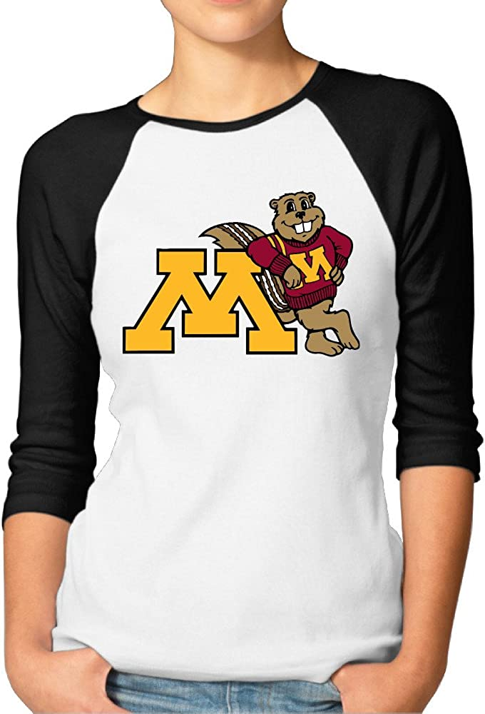 ElishaJ Women's Raglan Tee Baseball Shirt University Of Minnesota Black