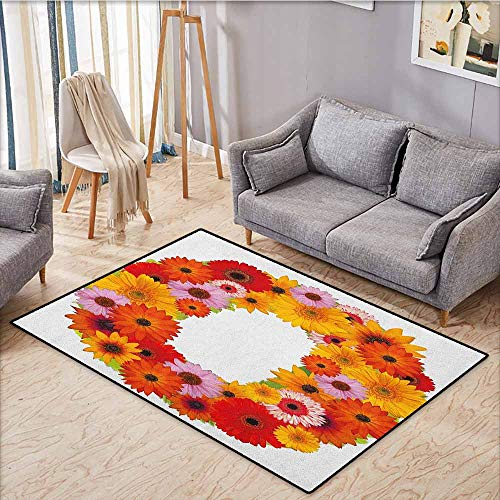 Kids Rug,Letter O,Alphabet Themed ABC of Natural World Letter O with Daisies Colors of The Summer,Ideal Gift for Children,4'11