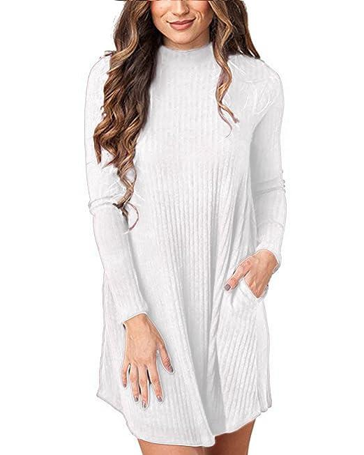 Cnfio Mujer Vestido Mangas Largas Blusa Suéter Cuello Alto Puente Bolsillo Moda Blanco S