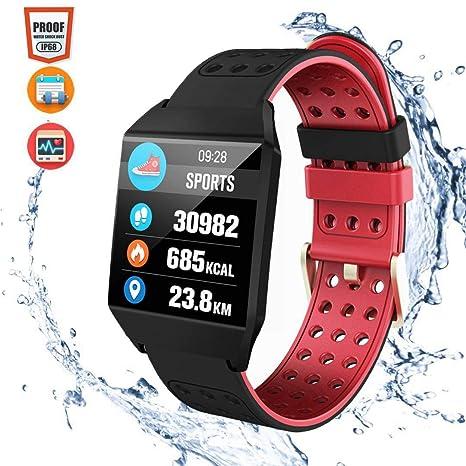 CatShin Pulsera Actividad Mujer CS04 Reloj Inteligente Hombre Niños Impermeable IP68 Pulsera Deportiva con Pulsómetro Monitor