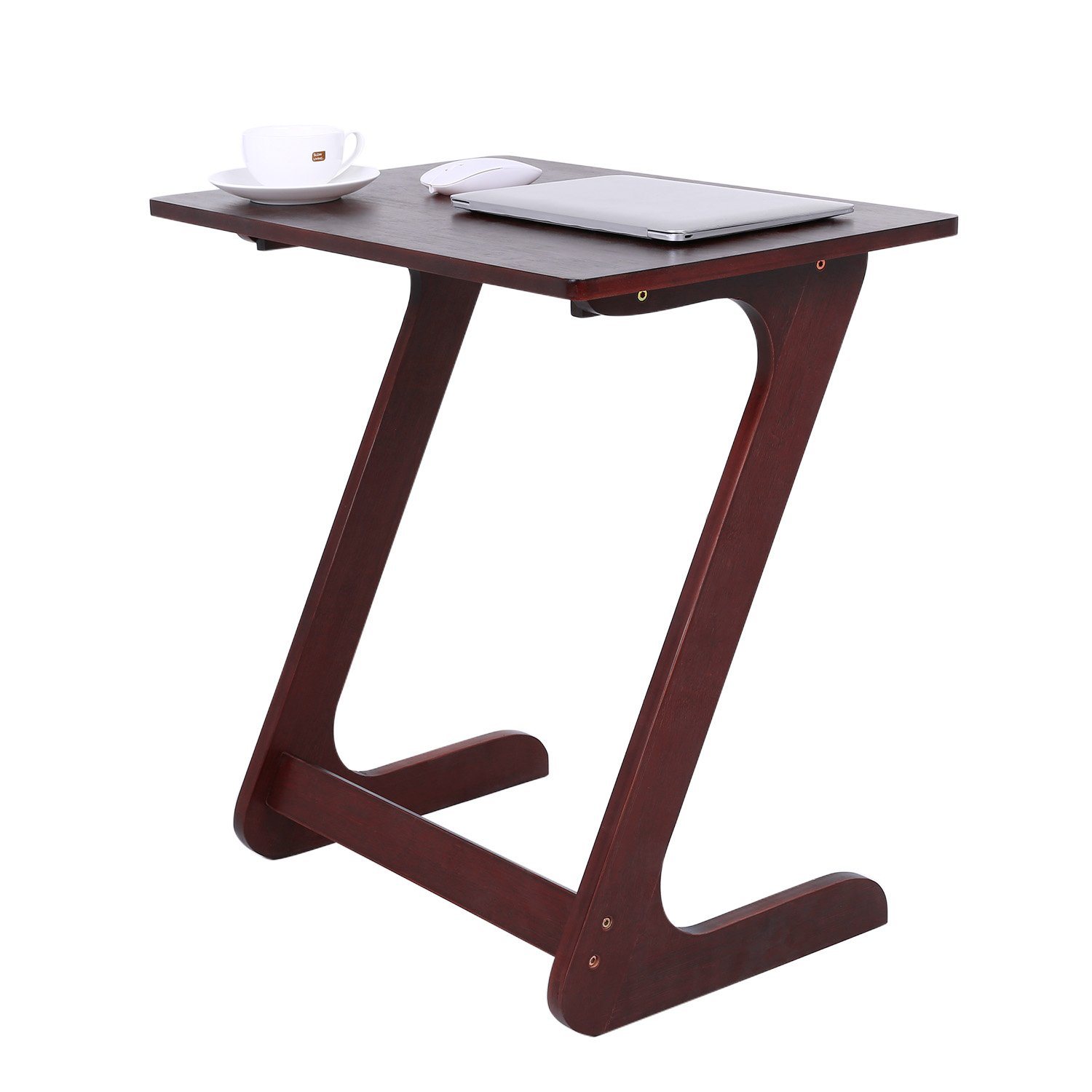 Z Style Portable Stable Wood Bamboo Over Sofa Snack Table for Home TV Tray for Bed Sofa Eating Writing Reading Living Room