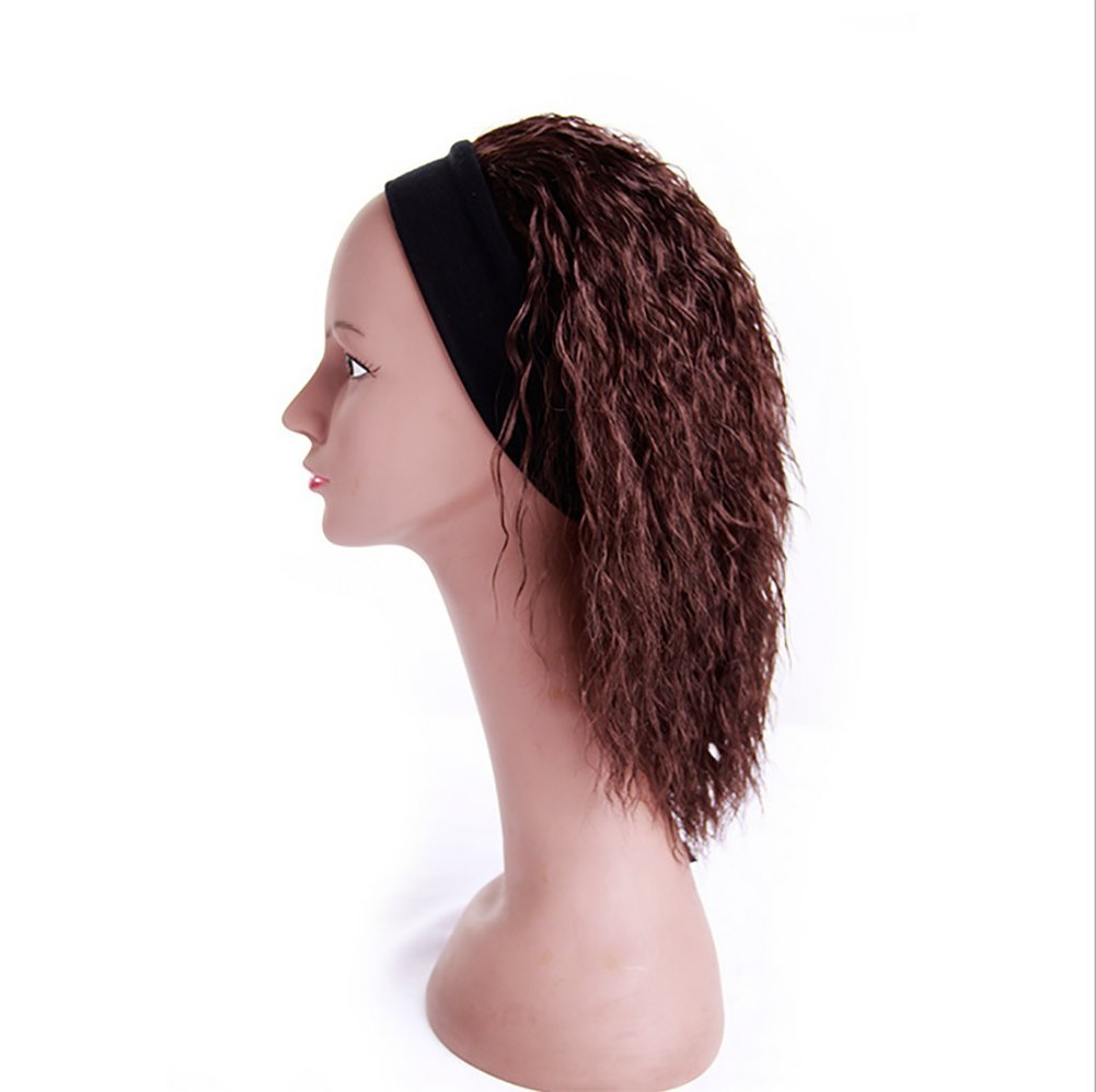 SMX&Xh Afro Kinky Wig Brazilian Full Wig Curly Heat Resistant Shoulder Length Half Hand Tied For Women