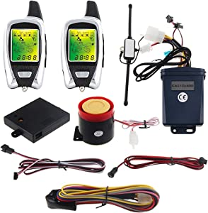 EASYGUARD EM209 2 Way Motorcycle Alarm System with Remote Engine Start Starter Microwave Sensor Colorful LCD Pager Display Shock Sensor Proximity Sensor Included Universal Version DC12V