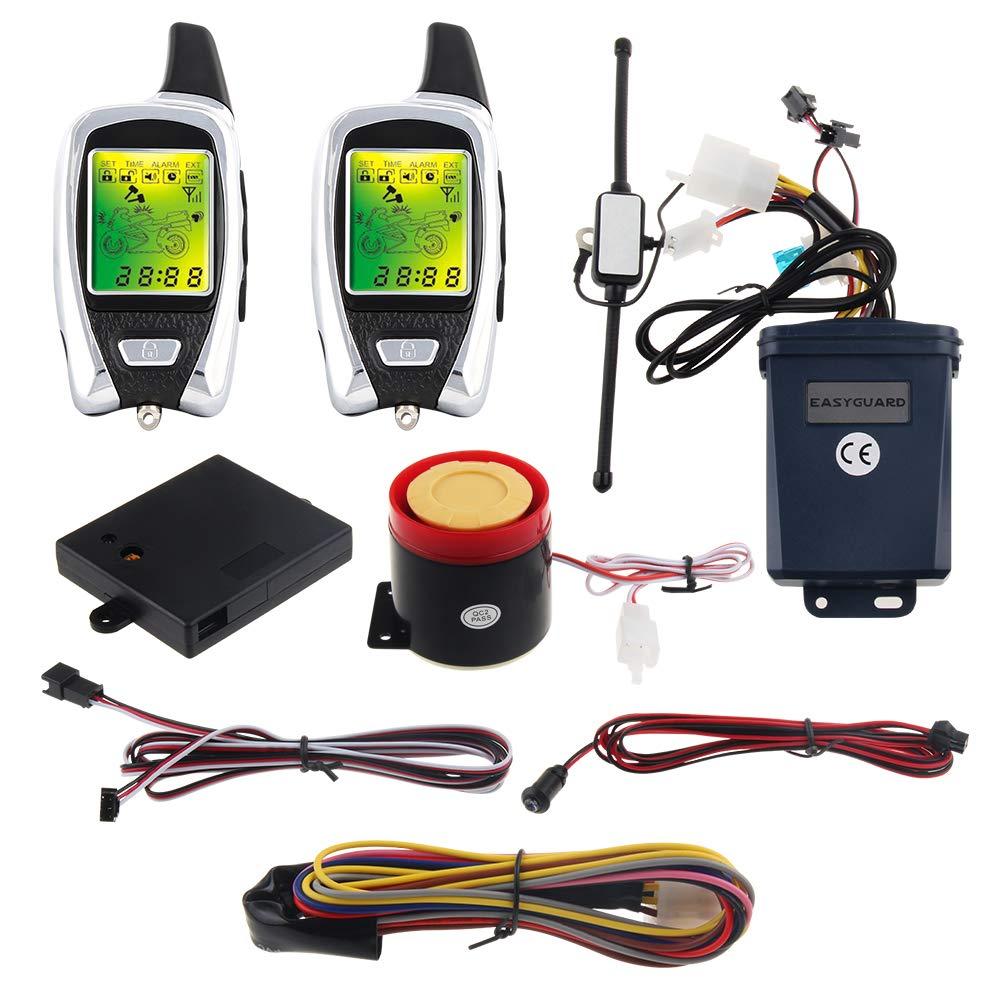 EASYGUARD EM209 2 Way Motorcycle Alarm System with Remote Engine Start Starter Microwave Sensor Colorful LCD Pager Display Shock Sensor Proximity Sensor Included Universal Version DC12V by EASYGUARD