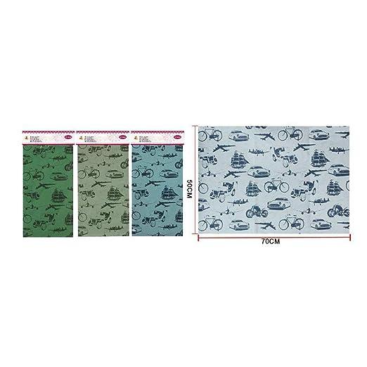 Pack de 3 paquetes de papel de regalo Kraft medidas 50x70cm Diseño Viajes. Tres Colores diferentes para envolver regalo, papel para cumpleaños ...