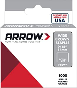 Arrow Fastener 609 Wide Crown Swingline Style Heavy Duty 9/16-Inch Staples, 1000-Pack