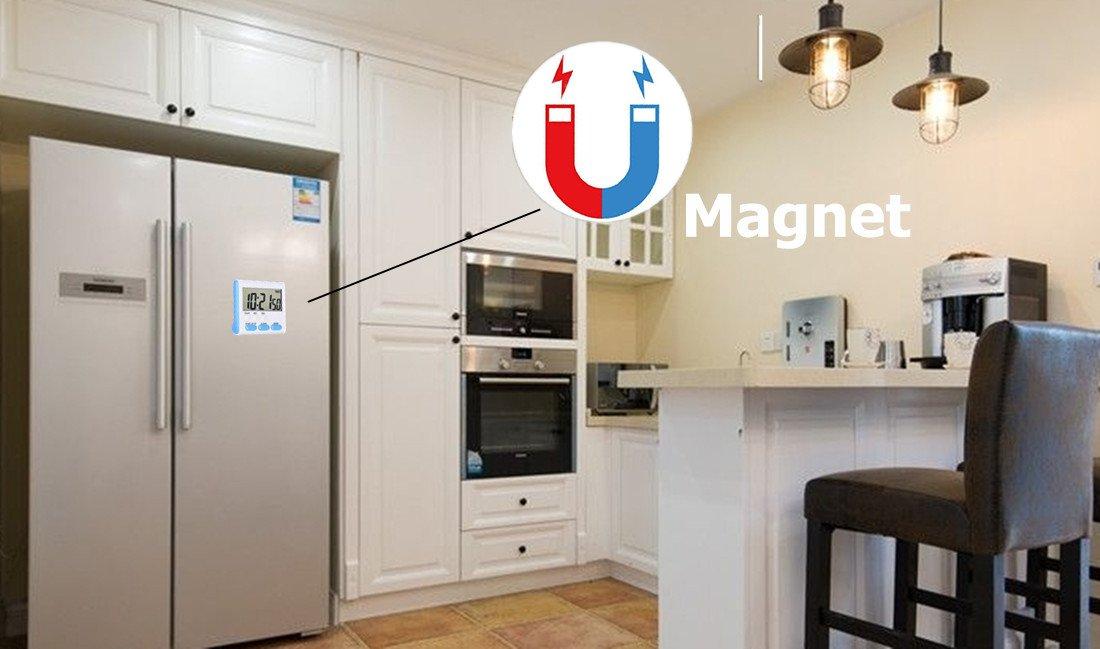 Temporizador de cocina digital con 24 horas magnético con despertador, pantalla LCD grande, soporte retráctil y agujero para colgar (2 unidades): Amazon.es: ...