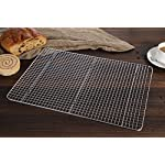 "Hiware Cooling Rack for Baking - 11.8"" x 16.5"" - Stainless Steel Wire Cookie Rack Fits Half Sheet Pan, Oven Safe for Cooking, Roasting, Grilling 14 SOLID STAINLESS STEEL GRID CONSTRUCTION - Hiware's cooling rack is made of high quality [GRADE] stainless steel that is made to last for years. The tight grid design gives stability to the rack, which makes it easy to balance baked goods, meats, fruits, and vegetables without the possibility of them falling through the slats. OVEN AND GRILL SAFE - This commercial-grade rack resists heat up to 575 degrees Fahrenheit making it perfect for use in the oven or grill. This versatile rack is the perfect complement to any kitchen and holds up to 20 pounds of food without sagging or bending. PERFECT SIZE - Measuring 11.8""x16.5"", the Hiware rack fits inside a half sheet (13""x18"") cookie pan or comfortably on a countertop. After use, it is easy to store in your cabinet or drawer."