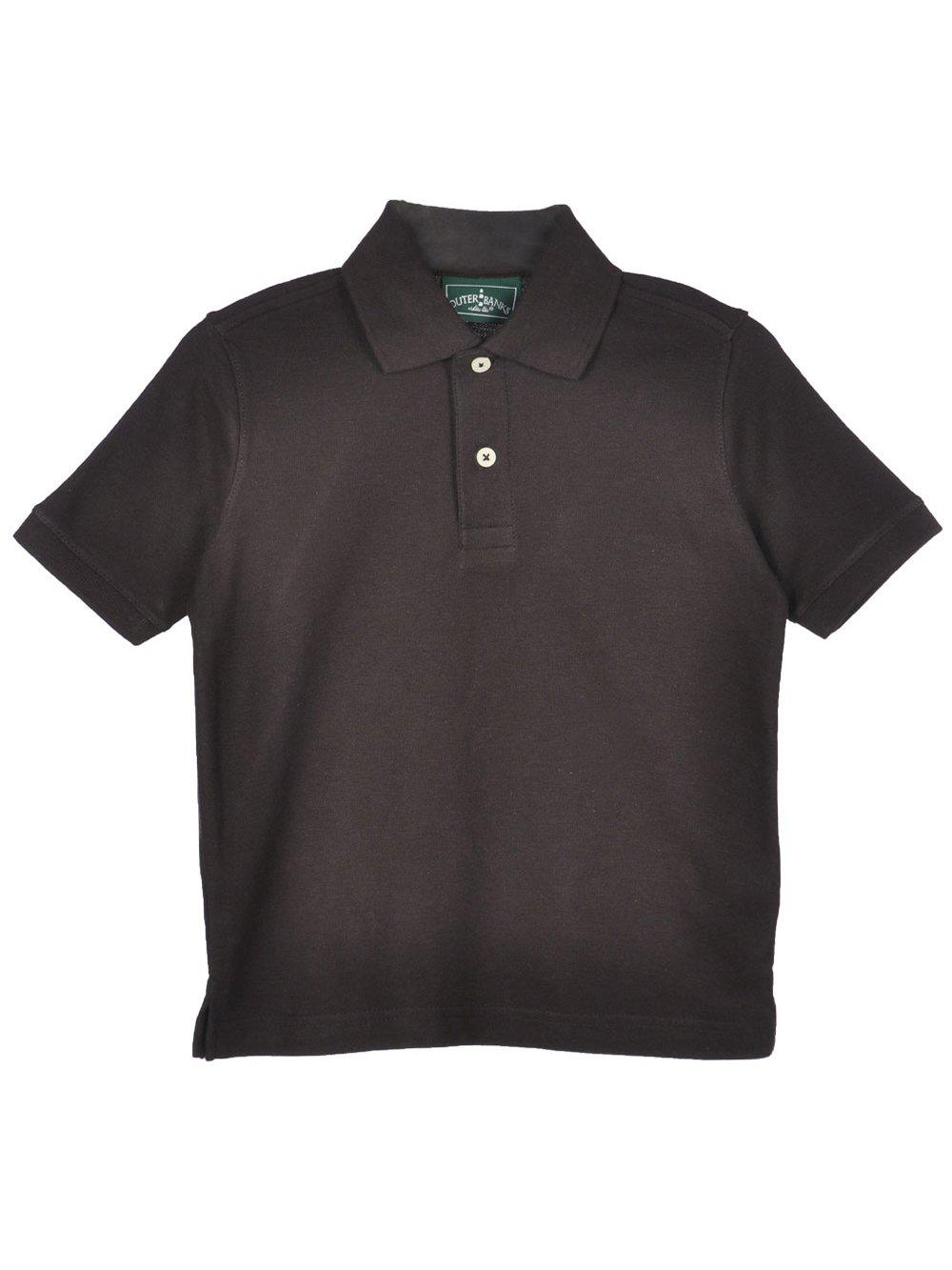 Outer Banks Big Boys' Roanoke Pique Polo Shirt - black, 8-10/m