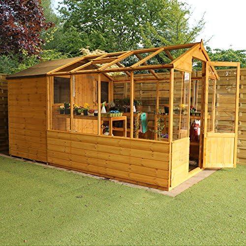 Invernadero de madera con cobertizo, ventana, puerta única ...