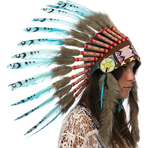 [Feather Headdress- Native American Indian Inspired- Handmade by Artisan Halloween Costume for Men Women with Real Feathers - Turquoise Duck] (India Costume Female)