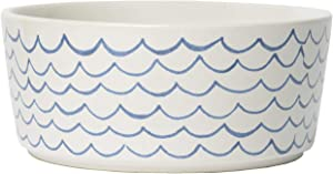 Waggo Sketched Wave Ceramic Dog Bowl Blue/White Durable Dog Food and Water Pet Dish
