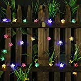 50 LED Solar Garden Lights Outdoor Solar String Lights Flower Bulbs Outdoor Christmas Decorations Multi Color Led String Lights Waterproof Party Lights Solar Powered Outdoor Lights Solar Fairy Lights