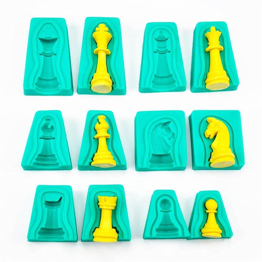 fai da te cioccolato caramelle fondente 12 stampi in silicone a forma di scacchi per decorazione torte